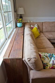 DIY console table for behind the sofa. Have to remember to do this if our living room needs it! Don't need end tables this way. DIY console table for behind the sofa. Have to remember to do this if our living room needs it! Don't need end tables this way. Furniture, Home Living Room, Home Projects, Interior, Home, Furniture For Small Spaces, Small Space Diy, Home Diy, Home And Living