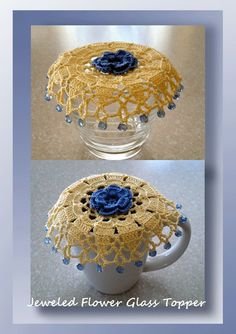 """I added """"Jeweled Flower Glass Topper - Crochet Cozy or Cup & Mug Topper"""" to an #inlinkz linkup!http://www.crochetmemories.com/blog/jeweled-flower-glass-topper/"""