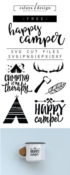 FREE happy camper SVG cut file, Printable vector clip art download. Free printable camp clip art. Compatible with Cameo Silhouette, Cricut explore and other major cutting machines. 100% for personal use, only $3 for commercial use. Perfect for DIY craft project with Cricut & Cameo Silhouette, card making, scrapbooking, making planner stickers, making vinyl decals, decorating t-shirts with HTV and more! Free SVG cut file, summer free SVG, happy camper free SVG cut file #diytshirt