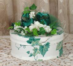 Victorian Keepsake /  Trinket Hat  Box - English Ivy Waverly Fabric - Vintage Style