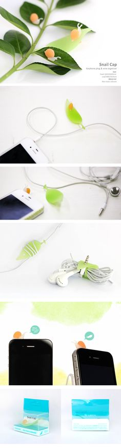 "Snail Cap. ""The little snail sits on the earphone jack to protect it when not in use, while the leaf is used to wrap your messy earphone cord around."" $8."