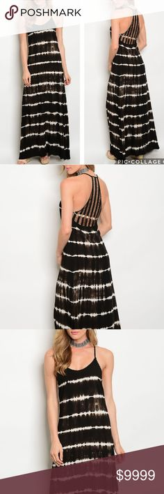 COMING SOON! Tie-Dye Maxi Dress This black and white tie-dye maxi dress features a boho feel with crochet back.  100% rayon Dresses Maxi
