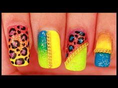 Neon Leopard & Chains nail art - YouTube
