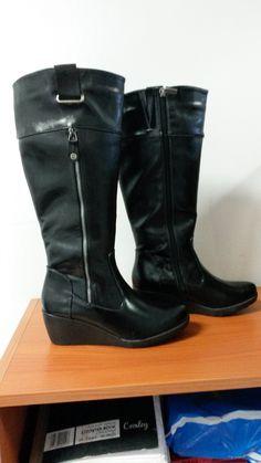 Black Wedge Knee High Boot by Pierre Cardin