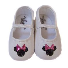 Minnie Mouse White Shoes -- Baby Bling Things Boutique Online Store