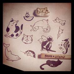 """@mumin0515's photo: """"ノルマ最後の1個!のぞきネコのはんこ。これも人気のはんこです。久しぶりの補充。さー次はラッピング! #handmade #stamp #cat"""""""