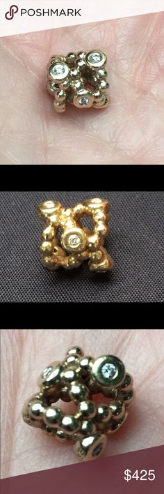 14kt gold and diamond Pandora charm 14kt yellow gold and diamond Pandora 'precious memory' charm. Preowned, rare and retired. Authentic Pandora charm. Pandora Jewelry