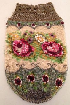 Gorgeous Antique Glass Micro Beaded Evening Drawstring Bag Purse Pink Red Rose | eBay