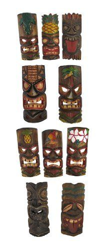 Set of 10 Polynesian Tiki Style Wall Masks 11 Inch by Private Label. $59.99. This set of 10 awesome Polynesian style wall masks is hand-carved from wood, then hand-stained and hand painted, using the Aboriginal dot-painting method. Each mask measures approximately 11 inches tall, and 4 1/2 to 5 inches wide. They look great on walls in patios, living rooms, offices, bedrooms, even in kitchens.These wall masks makes a great gift for friends and family. NOTE: These masks co...