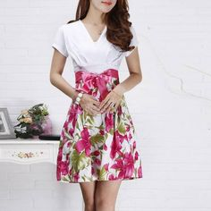 2014 New Korea Girl Women's 3 Colors Bodycon Slim High Waist Floral One-piece Dress