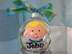 Painted glass ornament personalized with kid's by muraldevotee