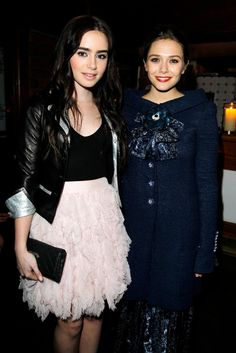 Lily Collins and Elizabeth Olsen at the Chanel Dinner.