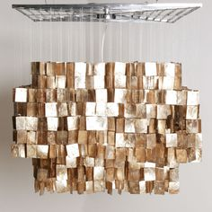 this Gold Capiz chandelier from Z Gallerie would look amazing over a kitchen island