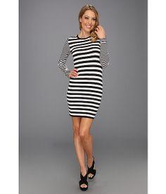 MICHAEL Michael Kors Carnaby Stripe Longsleeve Dress Black -