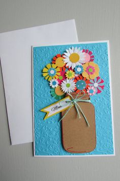 Mother's Day card-mason jar cards, Greeting cards, floral love cards,Handmade cards, embossed cards, pretty cards, stationery, Homemade card