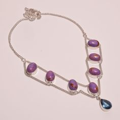 Lovely Purple Copper Turquoise .925 Silver Handmade Necklace Jewelry JA579…