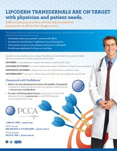 Lipoderm Transdermal Bases by PCCA- Maximize your competitive advantage with your practioners and patients with the only proven transdermal method of delivering up to four medications, simultaneously. Way #7 Spring 2012/ Improving Patient Care & Pharmacy Profitability ----- (As seen in the SPRING 2012 20Ways publication www.rxinsider.com..)