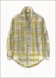 Cashmere wool Plaid Shirt Illustration by Colin Woodford #mensfashion, #fashionillustration, #woolshirt, #outdoor, #workwear,