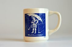 Vintage,1914 When It Rains, It Pours, Morton's coffee mug,Tea Cup by HoneyQueenBee on Etsy