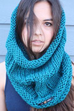 LIX PERLE: Soft Teal Circular Hood Tube, I Heart Teal Cowl Scarf. $45.00, via Etsy.