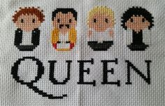 Queen Rock Band. Pattern from Clouds Factory. Stitched on white 14 count aida with DMC floss.