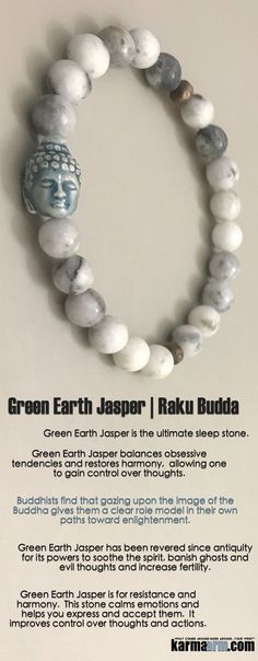 #BEADED #Yoga #BRACELETS  ♛ Green Earth Jasper has been revered since antiquity for its powers to soothe the spirit, banish ghosts and evil thoughts and increase fertility.. #Buddha #Buddhist #DalAiLama #Mens #Good #Luck #womens #Jewelry #Fertility #Eckhart #Tolle #Crystals #Energy #gifts #Chakra #Healing #Kundalini #Law #Attraction #LOA #Love #Mala #Meditation #prayer #Reiki #mindfulness #wisdom #CrystalEnergy #Spiritual #Tony #Robbins