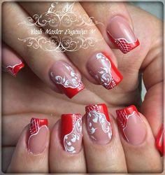 Фотография Beautiful Nail Designs, Cool Nail Designs, Acrylic Nail Designs, Acrylic Nails, Red Nail Art, Pretty Nail Art, Red Nails, Weding Nails, Nail Art Arabesque