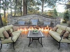 The water feature lights up at night so you can enjoy this water feature all night long and how bout that fire? Sweet!