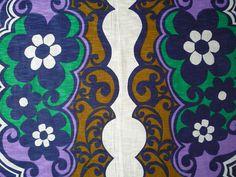 Vintage Groovy 60s Floral Purple Fabric by modpodvintagefashion, $15.00