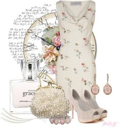 """""""* In Bloom ~ VALENTINO Pearl Floral Silk Dress *"""" by hrfost1210 on Polyvore"""