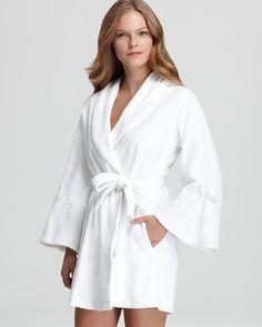 Betsey Johnson Loop Terry Bridal Robe White $65