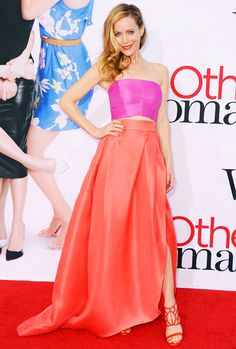 Leslie Mann dressed in a two-piece ensemble from Monique Lhuillier's Spring/Summer 2014 collection and a pair of Oscar Tiye sandals at the LA premiere of The Other Woman