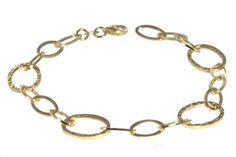 """14k Italian Yellow Gold Polished and Textured Oval Link Bracelet, 8"""" Amazon Curated Collection. $232.99. Made in Italy"""
