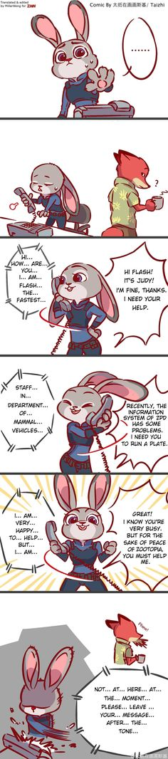 Zootopia News Network: Comic: Judy Calls Flash (Comic by 太纸在画画斯基) (Translated by the ZNN Translation Team)