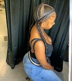 Feed In Braids Hairstyles, Braids Hairstyles Pictures, Braided Ponytail Hairstyles, Braided Hairstyles For Black Women, Braids For Short Hair, Baddie Hairstyles, Hair Pictures, 2 Braids With Weave, Girl Hairstyles
