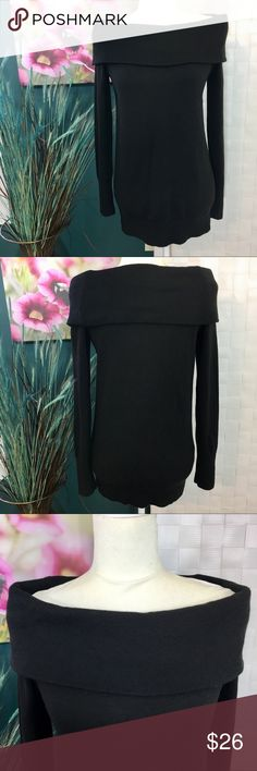 Ann Taylor LOFT  Black Sweater size small Black long sleeve sweater that sits off the shoulders. Size small. Acrylic Nylon Blend. LOFT Sweaters