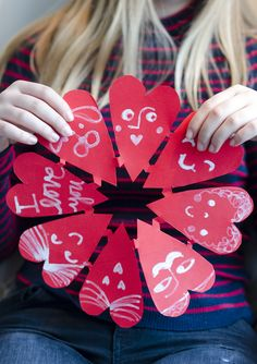 Make Paper Cut Hearts with snowflakes