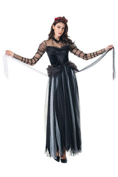 Damen Vampirin Hexen Ghost Braut Cosplay Kostüm Karneval Fasching Kostüme  Mottoparty. Karneval Kostüme. Halloween Costume Black Vampire ... aed25163644c