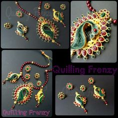 Grandeur peacock earrings for special occasions.. Perfect for traditional attires.. an eye catcher.. Based on a real pendant set Colors: Maroon, green and gold Comes with 2 pairs of studs in maroon and green to choose based on the dominant color.. #quillingfrenzy #paperquilling #quilling #peacocks #quilled #traditional #grandeur #grand #pendantset #earrings #studs #longearrings #danglers #pendant #beads #handmade #ecofriendly #paper