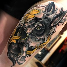 Tattoo by Monika Boo @krunikanleima, done using @buddha_brand_tattoo #hare #rabbit #bunny #tattoo #stencilstuff #neotraditionaltattoo #neotradeu #neotraditional #inked #txtooing #tattoosnob #skinartmag
