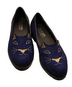 Shoes with Cat Embroidery @Hannah Whiteside - your graduation gift or maybe prom shoes?