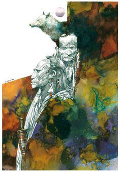 Sergio Toppi - date and publication unknown. Art And Illustration, Comic Kunst, Guache, Abstract Portrait, True Art, Art For Art Sake, Print Artist, Comic Artist, Ancient Art