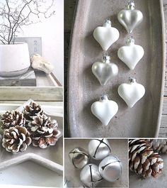 Snowy pinecones and heart ornaments Christmas Inspiration, Wedding Inspiration, Santa Claus Is Coming To Town, Natural Christmas, Heart Ornament, Christmas Fashion, Samhain, Pine Cones, Happy Holidays