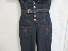 Womens Jumpsuit Blue Size 11 Belted Ankle length Short Sleeve Button Up #AmericanBlues #Jumpsuit