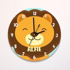 Clock For Kids, Kids Clocks, Wall Clock Nursery, Photo Wall Clocks, Lion Nursery, Diy Clock, Modern Kids, Jungle Animals, Door Signs