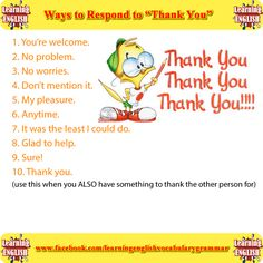 """ways to respond to respond to """"thank you""""  - learning English basics"""