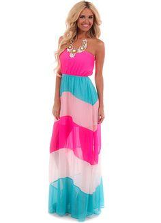 Neon Fuchsia Color Block Strapless Maxi Dress