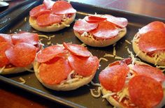 English muffin pizzas. Great kid's snack!