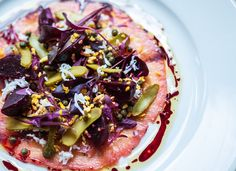 Beetroot marinated salmon, dill mustard sauce, pickled baby beets - A Recipe by Tom Aikens | FOUR Magazine