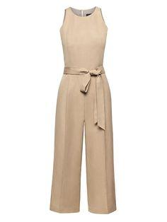 de7aa3983d7 Banana Republic Womens Cropped Linen-Blend Wide-Leg Jumpsuit Golden Beige  Jumpsuit Outfit